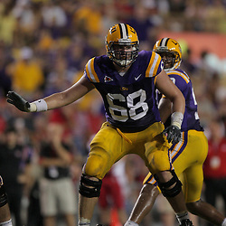 19 September 2009: LSU Tigers guard Josh Dworaczyk (68) in pass protection during a 31-3 win by the LSU Tigers over the University of Louisiana-Lafayette Ragin Cajuns at Tiger Stadium in Baton Rouge, Louisiana.