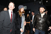 SIR NICHOLAS SEROTA; LILY COLE; JUDE LAW, Vanity Fair  hosted  UK Premiere and party for Beyond Time. A film about the artist William Turnbull made by his son Alex Turnbull. Narrated by Jude Law. I.C.A. London. 17 November 2011<br /> <br />  , -DO NOT ARCHIVE-© Copyright Photograph by Dafydd Jones. 248 Clapham Rd. London SW9 0PZ. Tel 0207 820 0771. www.dafjones.com.