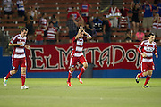 FRISCO, TX - JUNE 26:  Blas Perez #7 of FC Dallas celebrates after scoring a goal against the Portland Timbers on June 26, 2013 at FC Dallas Stadium in Frisco, Texas.  (Photo by Cooper Neill/Getty Images) *** Local Caption *** Blas Perez
