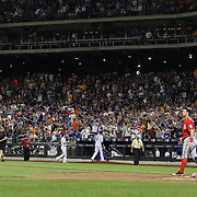 Bryce Harper, Washington Nationals, is struck out by Pitcher Noah Syndergaard, (left), New York Mets, in the eighth inning during the New York Mets Vs Washington Nationals MLB regular season baseball game at Citi Field, Queens, New York. USA. 2nd August 2015. Photo Tim Clayton