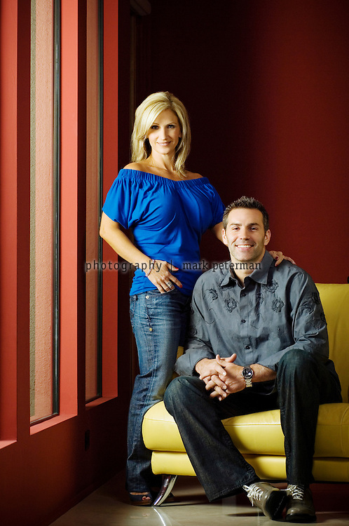 Kurt Warner with his wife Brenda at their home in Scottsdale, Arizona.<br /> <br /> Kurt Warner is a former NFL quarterback and Super Bowl XXXIV MVP. <br /> <br /> Warner played for the Arizona Cardinals, New York Giants and St. Louis Rams during his 12 year NFL career.