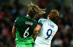 Rene Krhin of Slovenia and Harry Kane of England jump together - Mandatory by-line: Robbie Stephenson/JMP - 05/10/2017 - FOOTBALL - Wembley Stadium - London, United Kingdom - England v Slovenia - World Cup qualifier