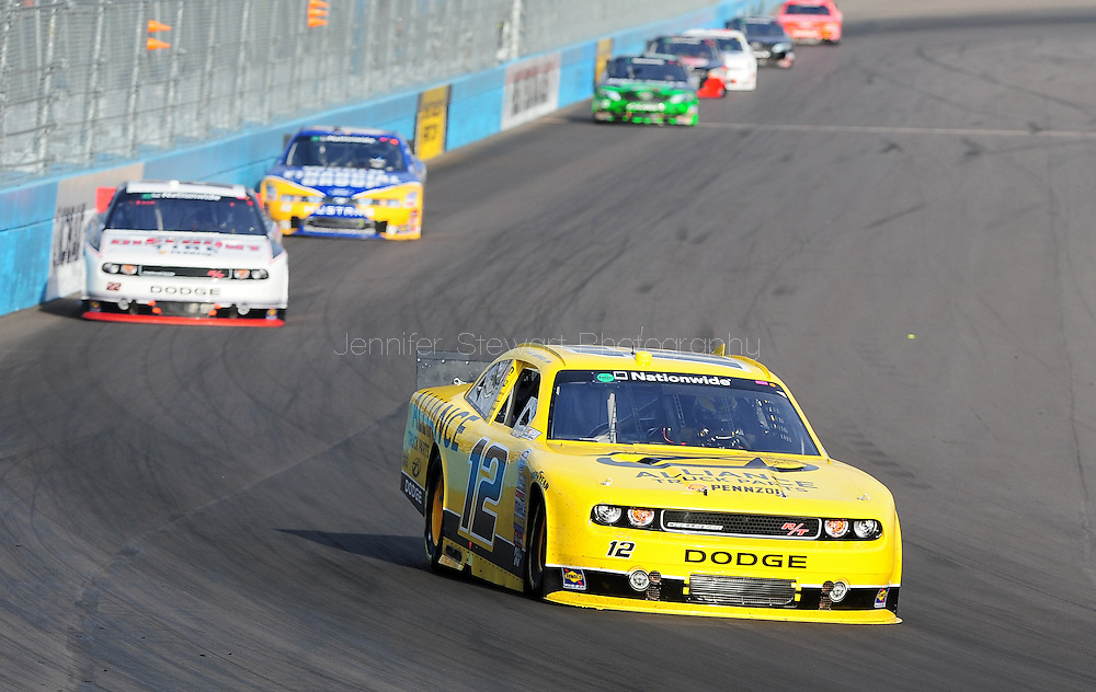 Nov. 12 2011; Avondale, AZ, USA; NASCAR Nationwide Series driver Sam Hornish Jr. leads the pack during the Wypall 200 at Phoenix International Raceway. Mandatory Credit: Jennifer Stewart-US PRESSWIRE