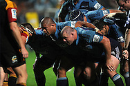 Blues scrum. Investec Super Rugby - Chiefs v Blues, Waikato Stadium, Hamilton, New Zealand. Saturday 26 March 2011. Photo: Andrew Cornaga / photosport.co.nz