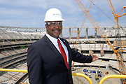 Apr 15, 2019; Inglewood, CA, USA; Inglewood mayor James Butts aka James T. Butts poses at the LA Stadium & Entertainment District construction site. The site will be the home of the Los Angeles Chargers and the Los Angeles Rams, Super Bowl LVI in 2022, the College Football National Championship in 2023 and the opening and closing ceremonies of the 2028 Olympic Games.