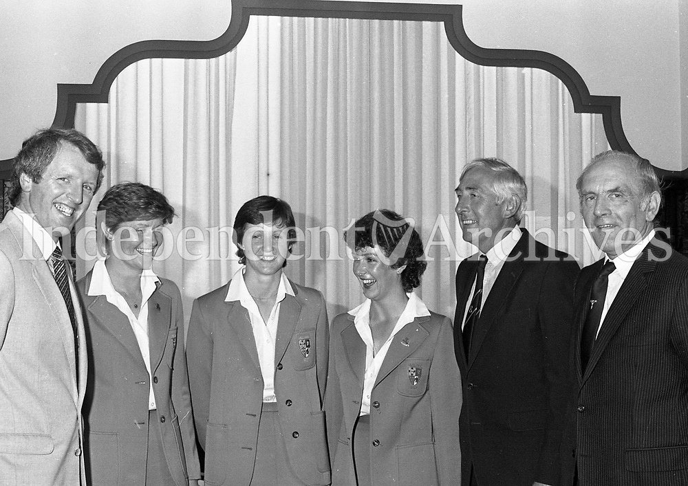 Irish Women's Golf Team at Jury's Hotel Luncheon after they returned from Winning the European Championship, also in the picture is Ronnie Delaney, circa July 1983 (Part of the Independent Newspapers Ireland/NLI Collection).