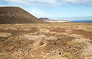 Inland sand dune landscape view near Agujas Chicas volcano, La Isla Graciosa, Lanzarote, Canary Islands, Spain