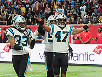 American Football - 2019 NFL Season (NFL International Series, London Games) - Tampa Bay Buccaneers vs. Carolina Panthers<br /> <br /> Ross Cockrell (47) for the Panthers, celebrates  his steal, at Tottenham Hotspur Stadium.<br /> <br /> COLORSPORT/ANDREW COWIE