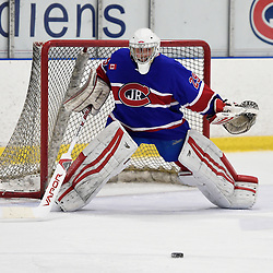 TORONTO, ON  - NOV 26,  2017: Ontario Junior Hockey League game between the Toronto Jr. Canadiens and the Toronto Patriots, Dalton Ewing #29 of the Toronto Jr. Canadiens protects the crease during the third period.<br /> (Photo by Andy Corneau / OJHL Images)