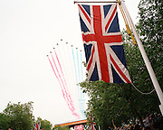 A fly-past over The Mall in London by the 'Red Arrows', Britain's Royal Air Force aerobatic team.