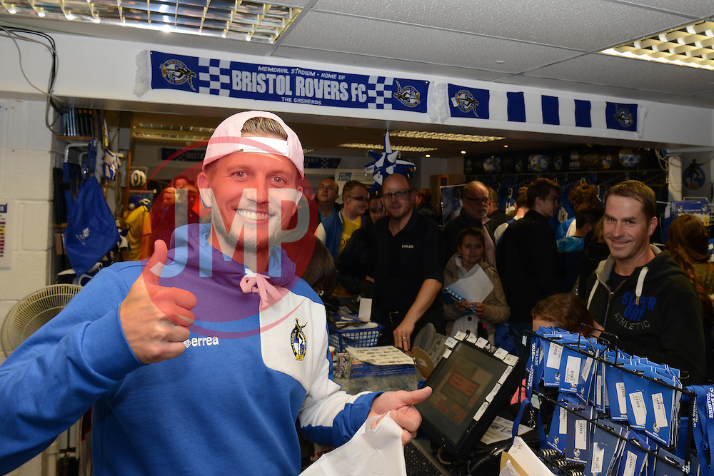 Lee Mansell poses for a photo as he helps out at the Club Shop during an Open Day - Mandatory by-line: Dougie Allward/JMP - 07966386802 - 26/07/2015 - SPORT - FOOTBALL - Bristol,England - Memorial Stadium - Bristol Rovers Open Day - Bristol Rovers Open Day