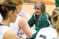 Wyoming East head coach Angie Boninsegna talks to her team during a timeout against Bluefield during a first round game at the Charleston Civic Center.