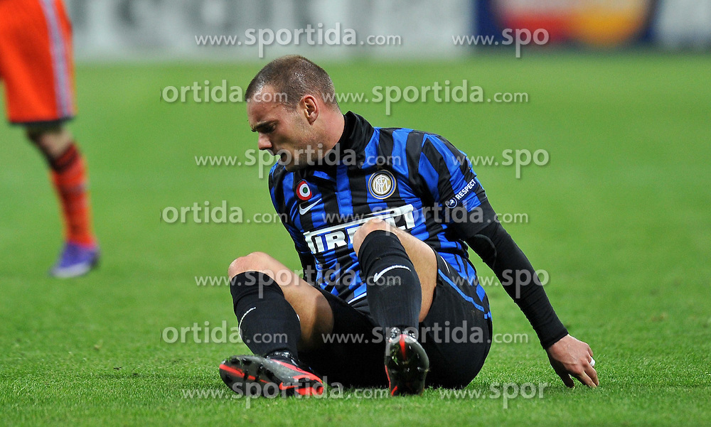 13.03.2012, Stadion Giuseppe Meazza, Mailand, ITA, UEFA CL, Achtelfinal-Rueckspiel, Inter Mailand vs Olympique Marseille, im Bild Wesley SNEIJDER (Inter) // during the UEFA Champions League round of 16 second leg Match between Inter Mailand and Olympique Marseille at the Giuseppe Meazza Stadium, Mailand, Italy on 2012/03/13. EXPA Pictures © 2012, PhotoCredit: EXPA/ Insidefoto/ Alessandro Sabattini..***** ATTENTION - for AUT, SLO, CRO, SRB, SUI and SWE only *****