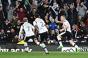 Derby County defender Alex Pearce (16) celebrates his second half goad 2-0 during the EFL Sky Bet Championship match between Derby County and Sheffield Wednesday at the iPro Stadium, Derby, England on 29 October 2016. Photo by Jon Hobley.