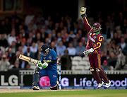 Denesh Ramdin catches Chamara Silva off a reverse sweep during the ICC World Twenty20 Cup semi-final between Sri Lanka and West Indies at The Oval. Photo © Graham Morris (Tel: +44(0)20 8969 4192 Email: sales@cricketpix.com)