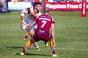 Bradford Bulls centre James Bentley (20) passes the ball out during the Kingstone Press Championship match between Batley Bulldogs and Bradford Bulls at the Fox's Biscuits Stadium, Batley, United Kingdom on 16 July 2017. Photo by Simon Davies.