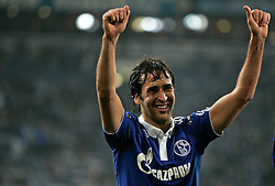 Raul Gonzalez of Schalke celebrates with team mates after winning during the UEFA Champions League round of 16 second leg match between Schalke 04 and Valencia at Veltins Arena on March 9, 2011 in Gelsenkirchen, Germany.