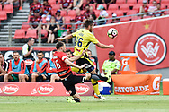 February 12, 2017: Central Coast Mariners Liam ROSE (16) goes up for the ball with Western Sydney Wanderers defender Robbie CORNTHWAITE (18) at Round 19 of the 2017 Hyundai A-League match, between Western Sydney Wanderers and Central Coast Mariners played at Spotless Stadium in Sydney.