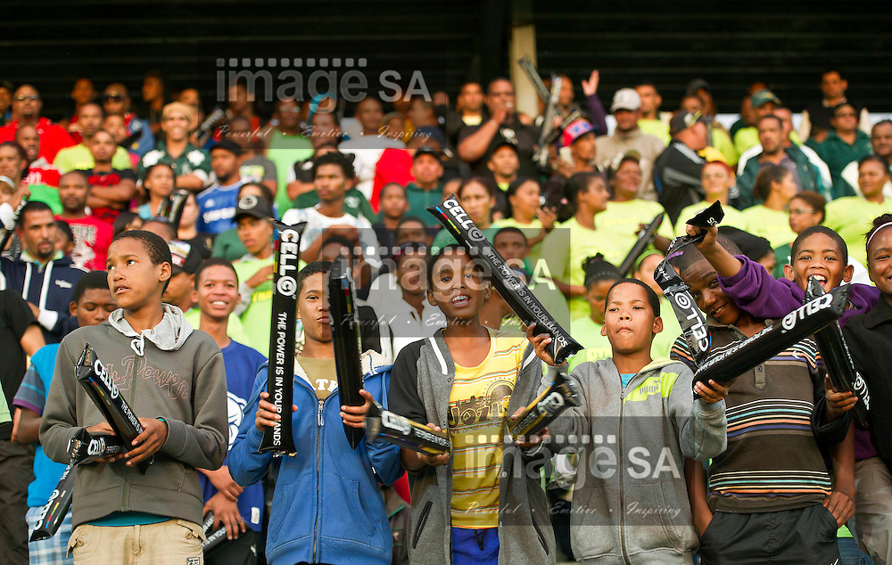 GEORGE, SOUTH AFRICA - Thursday 28 March 2013, Supporters during the Cell C Community Cup Quarter-finals rugby match between Rustenberg Impala and Pacaltsdorp Evergreens held at the Outeniqua Stadium, George in the Western Cape Province..Photo by ImageSA