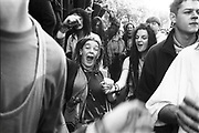 Ravers protesting on the streets, 3rd Criminal Justice March, London, 9th of October, 1994