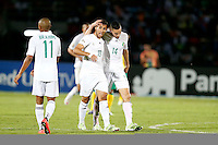 Saphir Taider Sliti (L)  and Nabin Bin Taleb of Algeria celebrate their goal against South Africa during their AFCON match at the Estadio de Mongomo on January 19, 2015.Algeria won 3-1.Photo/Mohammed Amin/www.pic-centre.com (Equatorial Guinea)