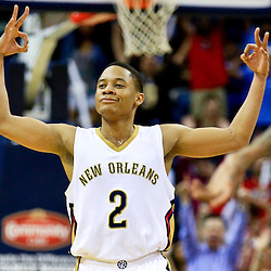 Mar 31, 2016; New Orleans, LA, USA; New Orleans Pelicans guard Tim Frazier (2) reacts after scoring a three point basket against the Denver Nuggets during the second half of a game at the Smoothie King Center. The Pelicans defeated the Nuggets 101-95. Mandatory Credit: Derick E. Hingle-USA TODAY Sports