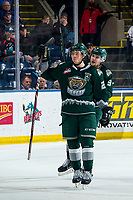 KELOWNA, BC - FEBRUARY 28:  Dawson Butt #9 and Jake Christiansen #23 of the Everett Silvertips celebrate a second period goal against the Kelowna Rockets at Prospera Place on February 28, 2020 in Kelowna, Canada. (Photo by Marissa Baecker/Shoot the Breeze)
