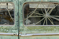 North America, USA,  Nevada, Nelson, Ghost Town, abandoned car detail