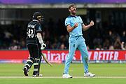 Wicket - Liam Plunkett of England celebrates taking the wicket of Jimmy Neesham of New Zealand during the ICC Cricket World Cup 2019 Final match between New Zealand and England at Lord's Cricket Ground, St John's Wood, United Kingdom on 14 July 2019.