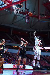 NORMAL, IL - October 30: Tete Maggett steps up short for a quick jumper in the middle of the lane with Devin Fuhring running on by during a college women's basketball game between the ISU Redbirds and the Lions on October 30 2019 at Redbird Arena in Normal, IL. (Photo by Alan Look)
