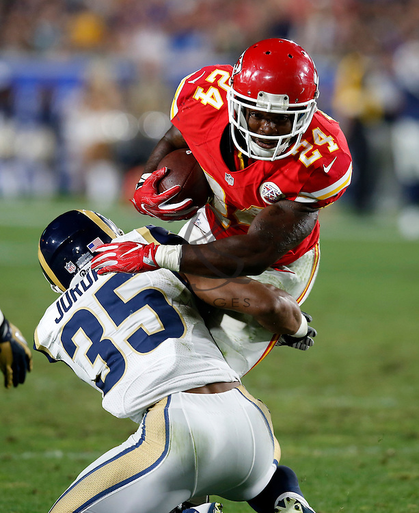 during the second half of a preseason NFL football game, Saturday, Aug. 20, 2016, in Los Angeles. (AP Photo/Rick Scuteri)