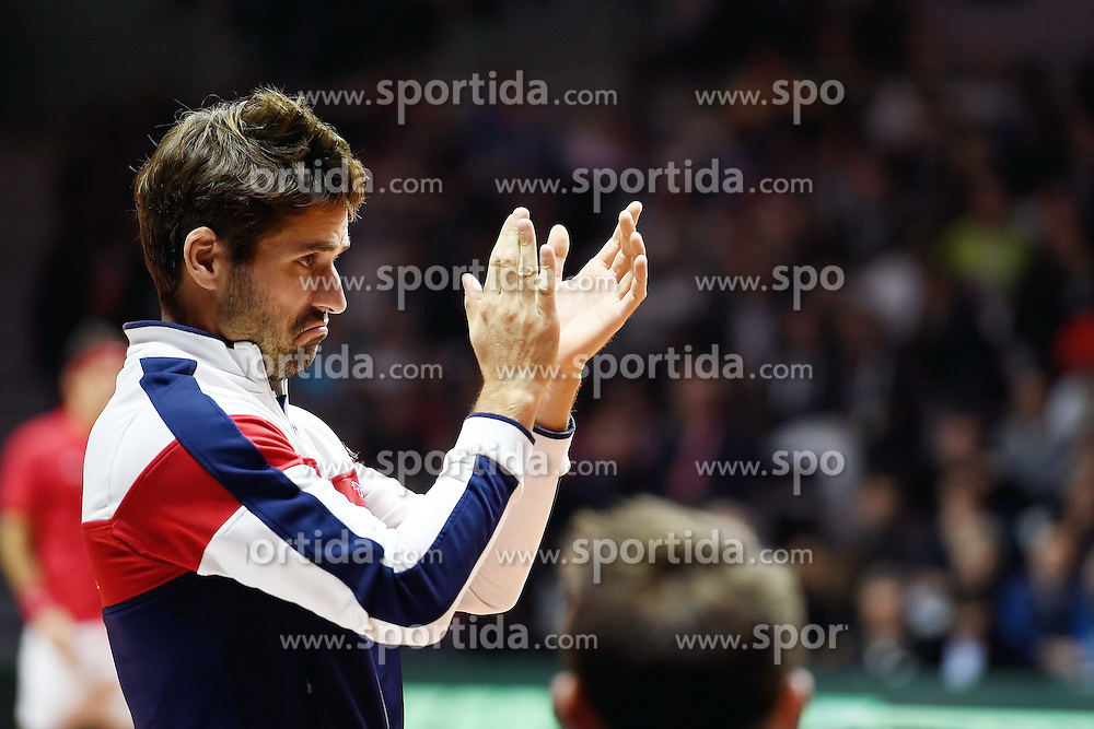 21.11.2014, Stade Pierre Mauroy, Lille, FRA, Davis Cup Finale, Frankreich vs Schweiz, im Bild Captain Arnaud Clement (FRA) // during the Davis Cup Final between France and Switzerland at the Stade Pierre Mauroy in Lille, France on 2014/11/21. EXPA Pictures &copy; 2014, PhotoCredit: EXPA/ Freshfocus/ Daniela Frutiger<br /> <br /> *****ATTENTION - for AUT, SLO, CRO, SRB, BIH, MAZ only*****