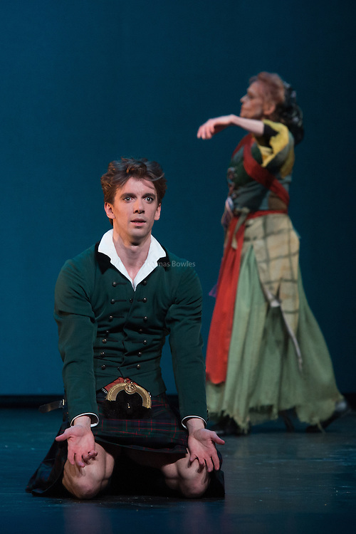 London, UK. 9th January 2015. The Royal Danish Ballet Soloists and Principals perform  works by the 19th century Choreographer and ballet master August Bournonville. <br />  Ulrik Birkkjaer as James. (with Sorella Englund as the witch behind)