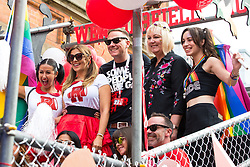 © Licensed to London News Pictures . 26/08/2017. Manchester , UK. Coronation Street float at the 2017 Pride parade through Manchester City Centre . The annual festival , which is the largest of its type in Europe , celebrates LGBT life . Photo credit : Joel Goodman/LNP