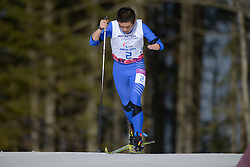 LIU Jianhui competing in the Nordic Skiing XC Long Distance at the 2014 Sochi Winter Paralympic Games, Russia