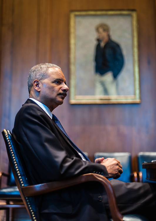 WASHINGTON, DC -- 6/3/14 -- Eric Holder during an interview in the U.S. Attorney's conference room at the Department of Justice. U.S. Attorney General Eric Holder talks about Stand Your Ground, Fair Sentencing and felony disenfranchisement laws. Photos of him in the Attorney General's office and conference room.…by André Chung #AC2_1586