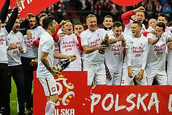 October 8, 2017 - Warsaw, Poland - Robert Lewandowski (POL), Kamil Grosicki (POL), Kamil Glik (POL), Maciej Rybus, Przemyslaw Tyton, Rafal Wolski,  during Poland and Montenegro World Cup 2018 qualifier match in Warsaw, Poland, on 8 October 2017. POLAND won 4-2 and take on their World Cup 2018 qualifier. (Credit Image: © Foto Olimpik/NurPhoto via ZUMA Press)