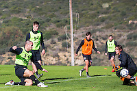 ESTEPONA - 06-01-2016, AZ in Spanje 6 januari, AZ speler Ron Vlaar, AZ speler Markus Henriksen, AZ speler Joris van Overeem, AZ keeper Sergio Rochet
