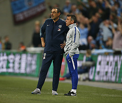 February 24, 2019 - London, England, United Kingdom - L-R Chelsea manager Maurizio Sarri  and Assistant Coach Gianfranco Zola.during during Carabao Cup Final between Chelsea and Manchester City at Wembley stadium , London, England on 24 Feb 2019. (Credit Image: © Action Foto Sport/NurPhoto via ZUMA Press)