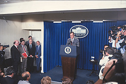 United States President George H.W. Bush holds a press conference in the Brady Press Briefing Room of the White House in Washington, D.C. to outline his new budget proposals on August 14, 1990.<br /> Credit: Howard L. Sachs / CNP /ABACAPRESS.COM