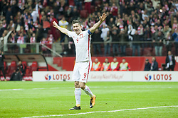 October 8, 2017 - Warsaw, Poland - Robert Lewandowski of Poland celebrates scoring during the FIFA World Cup 2018 Qualifying Round Group E match between Poland and Montenegro at National Stadium in Warsaw, Poland on October 8, 2017  (Credit Image: © Andrew Surma/NurPhoto via ZUMA Press)