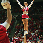 Cheerleaders perform their routines during the Utah vs. BYU game at the Huntsman Center Saturday, Feb. 26, 2005. August Miller/ Deseret Morning News DIGITAL PHOTOGRAPH