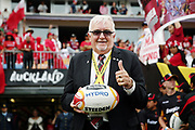Sir Peter Leitch The Mad Butcher delivers the match ball. 2017 Rugby League World Cup Semi Final, England v Tonga at Mt Smart Stadium, Auckland, New Zealand. 25 November 2017 © Copyright Photo: Anthony Au-Yeung / www.photosport.nz