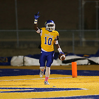 Adam Robison | BUY AT PHOTOS.DJOURNAL.COM<br /> Tupelo's Austin Watkins walks out of the endzone after scoring Friday night against DeSoto Central.