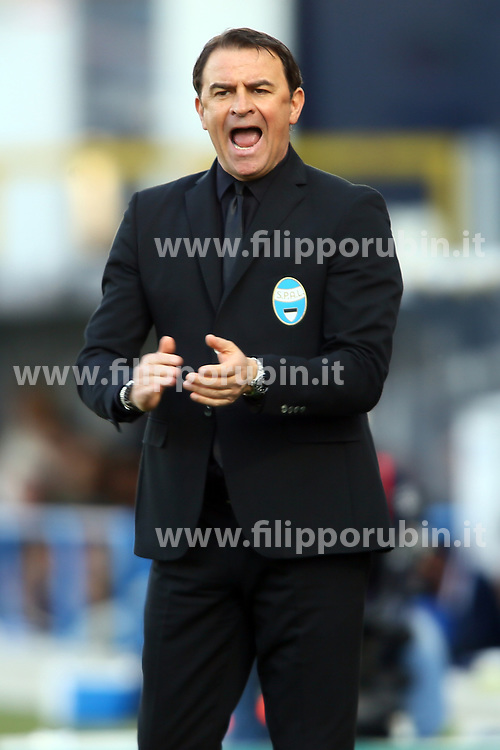 """Foto Filippo Rubin<br /> 07/04/2018 Ferrara (Italia)<br /> Sport Calcio<br /> Spal - Atalanta - Campionato di calcio Serie A 2017/2018 - Stadio """"Paolo Mazza""""<br /> Nella foto: LEONARDO SEMPLICI (ALLENATORE SPAL)<br /> <br /> Photo by Filippo Rubin<br /> April 07, 2018 Ferrara (Italy)<br /> Sport Soccer<br /> Spal vs Atalanta - Italian Football Championship League A 2017/2018 - """"Paolo Mazza"""" Stadium <br /> In the pic: LEONARDO SEMPLICI (SPAL'S TRAINER)"""