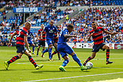 Nathaniel Mendez-Laing of Cardiff City has a shot during the EFL Sky Bet Championship match between Cardiff City and Queens Park Rangers at the Cardiff City Stadium, Cardiff, Wales on 26 August 2017. Photo by Andrew Lewis.