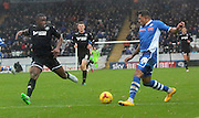 Nathaniel Mendez-Laing, Donervon Daniels during the Sky Bet League 1 match between Rochdale and Wigan Athletic at Spotland, Rochdale, England on 14 November 2015. Photo by Daniel Youngs.