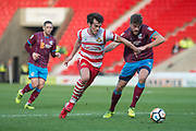 Doncaster Rovers Forward John Marquis (9) during the The FA Cup match between Doncaster Rovers and Scunthorpe United at the Keepmoat Stadium, Doncaster, England on 3 December 2017. Photo by Craig Zadoroznyj.