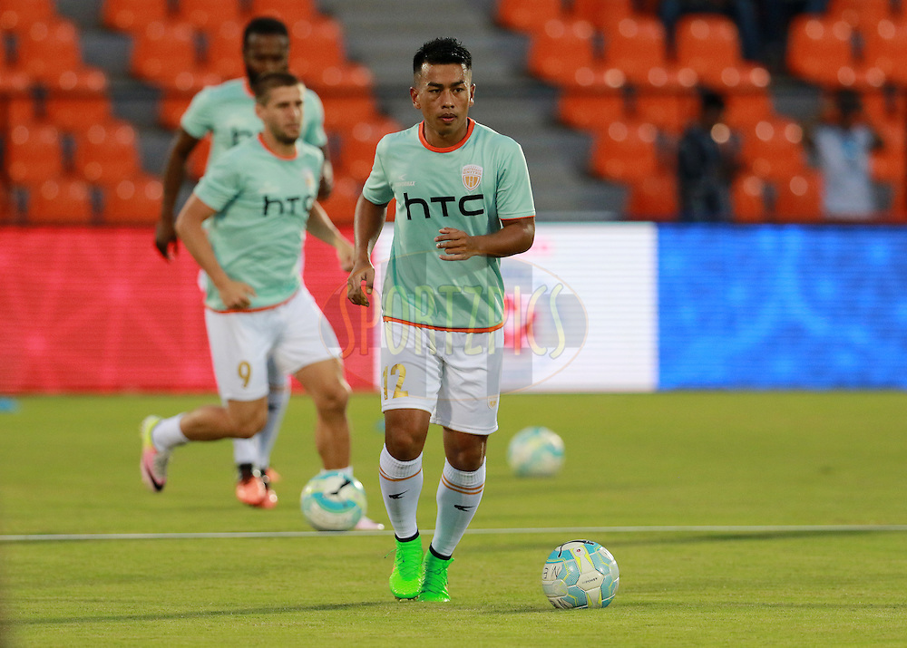 NorthEast United FC players warm up before the start of the match 7 of the Indian Super League (ISL) season 3 between Mumbai City FC and NorthEast United FC held at the Mumbai Football Arena in Mumbai, India on the 7th October 2016.<br /> <br /> Photo by Vipin Pawar / ISL/ SPORTZPICS