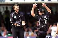Photo © ANDREW FOSKER / SECONDS LEFT IMAGES 2008  - low fives for the smiling, happy, celebrating Daniel Vettori (L)  as he is congratulated by Jamie How after taking Tim Ambrose's wicket for two cuaght by sub Marshall -  England v New Zealand Black Caps - 5th ODI - Lord's Cricket Ground - 28/06/08 - London -  UK - All rights reserved